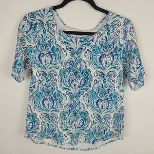 Croft & Barrow blouse short sleeve blue, M
